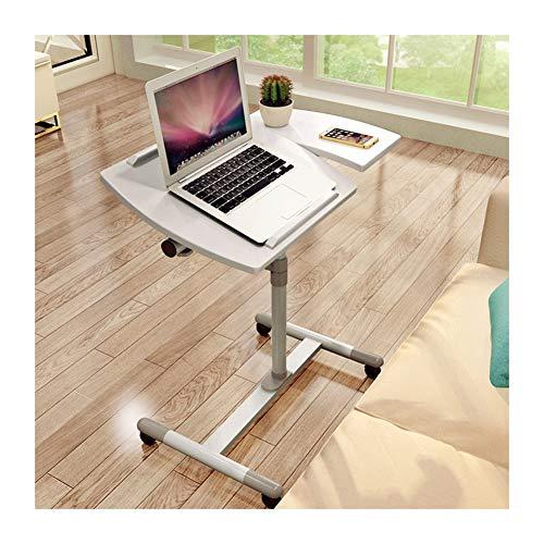 Beistelltisch Notebooktisch Laptoptisch Rollen, Laptopständer Mausablage, Höhenverstellbar, 360° Schwenkbar (Color : White)