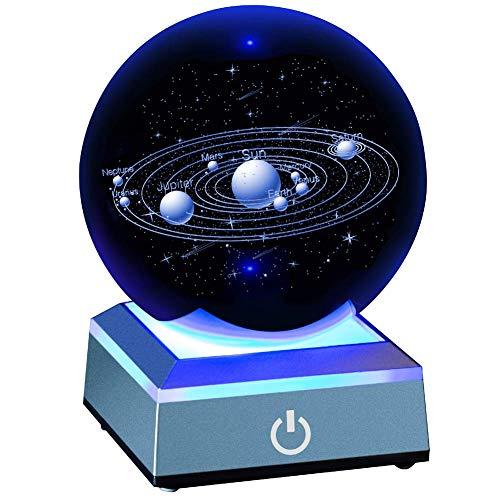 WBHD Zonnesysteem, kristallen bol, 80 mm, met 3D-lasergravure, zonnesysteem met touch-schakelaar, Galaxy LED-nachtlampje, cosmisch model met planetnaam kantoor, decoratie, ornament, verjaardagscadeau