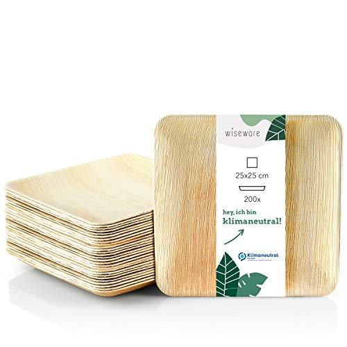 Wiseware - Platos desechables (200 unidades, 25 x 25 cm, platos de hoja de palma biodegradables, platos compostables, platos desechables ecológicos, 200, 25 x 25 cm)