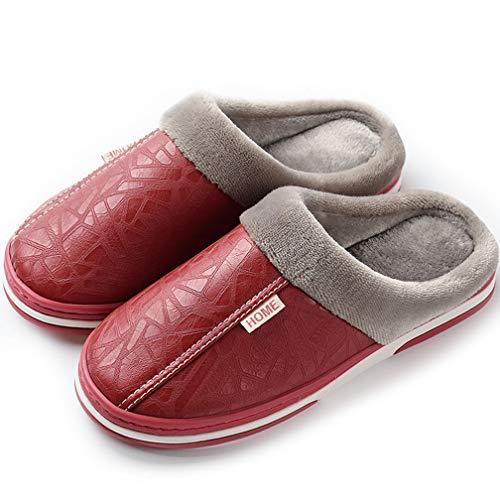 Hsyooes Zapatillas Mujer Invierno Hombre Resistente al Agua Interior Casa Caliente Slippers Suave Algodón Zapatilla Pareja Zapatos