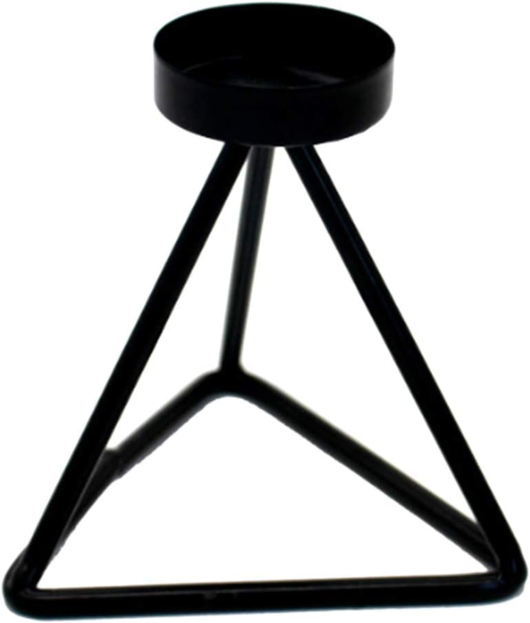 Max 55% OFF Great interest Prettyia Black Metal Geometric Candle Holder Tea Stand Light Can