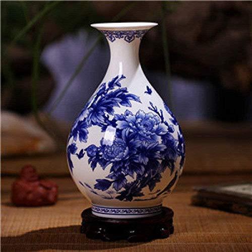 Vaas decoratie Jingdezhen blauw en wit porselein vazen Fine Bone China vaas Peony gedecoreerde keramische vaas, groen, B (Color : E)