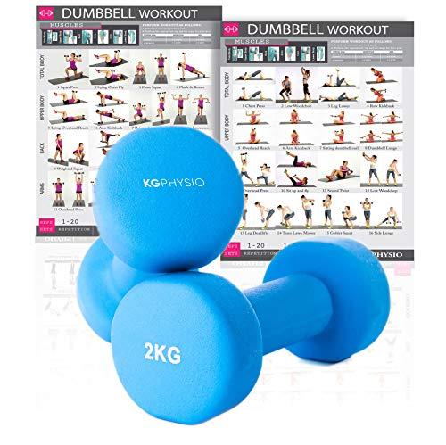 KG Physio Pesi Palestra in Casa Fitness e Palestra Manubri e Pesi Fitness Pesi per Palestra Manubrio (Set di 2) 1-10kg Poster di Allenamento Incluso (2kg)