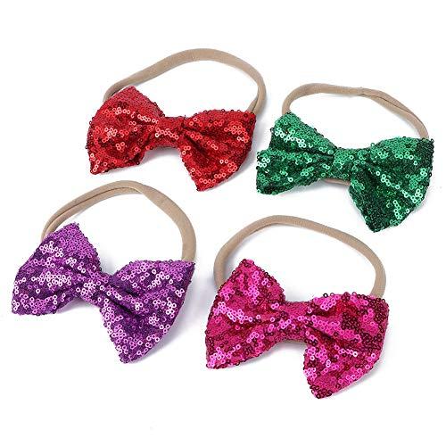 4Pcs niedlichen Cartoon Baby Pailletten Stirnbänder Haarband Zubehör Kopf Wraps für Kleinkinder Jungen Mädchen(B)