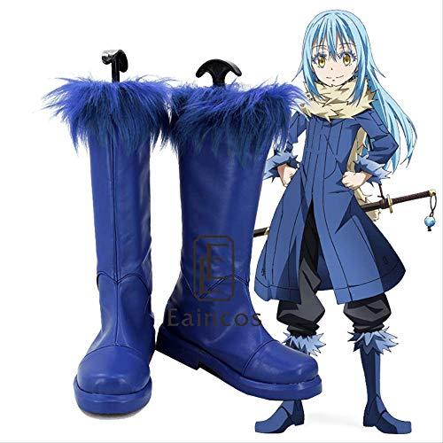 WSJDE Anime Esa Vez me reencarné como una Baba Rimuru Tempest Cosplay Zapatos Azules Elegantes Botas 34 tamaño Masculino