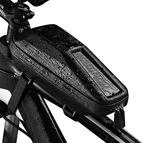 LA-BOOR Large Capacity Bicycle Frame Bag Waterproof Bike Top Tube Bag Front Bike Phone Bag with Double Zipper