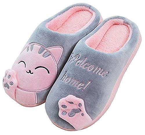 Zapatillas de Estar Zapatillas de Casa Mujer Hombre Invierno Interior Zapatos de Algodón Caliente Suave Antideslizante Slippers