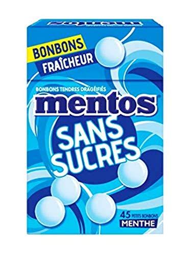 Mentos - Minis Bonbons Mentos Sans Sucres à la Menthe, Tendres et Croquants - Goût Rafraîchissant - Boite Refermable à Emmener Partout et à Partager - 1 Boite de 45 Minis Bonbons
