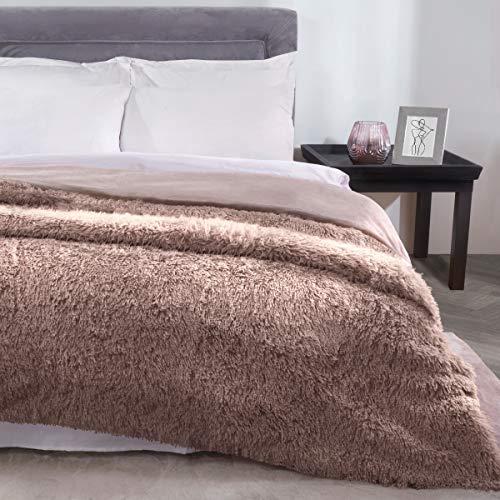 Sleepdown Manta de Forro Polar de Pelo sintético de visón de Lujo para sofá de 150 cm x 200 cm, poliéster, 150 x 200 cm