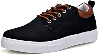 shangruiqi Men's Casual Flat Sport Shoes Unisex Lovers Style Lace Up Canvas Ankle Sneakers Abrasion Resistant ( Color : Black , Size : 45 EU )
