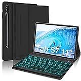 JADEMALL Tastatur Hülle für Samsung Galaxy Tab S7 2020, Abnehmbarer QWERTZ Deutsch 7 Farbige Beleuchtung Tastatur mit Schützhülle für Samsung Tab S7 11 Zoll (SM- T870/T875), Schwarz