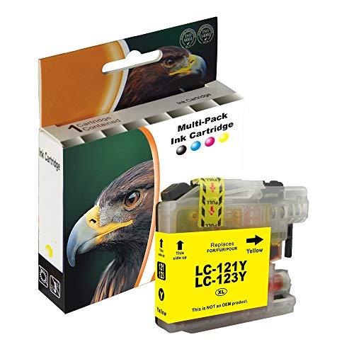 D&C 10ml YELLOW XL Druckerpatronen Kompatibel für Brother LC-123 LC123 für DCP-J152W DCP-J172W DCP-J4110DW DCP-J552DW DCP-J752DW MFC-J245 MFC-J4410DW MFC-J4510DW MFC-J4610DW MFC-J470DW J4710DW J650DW