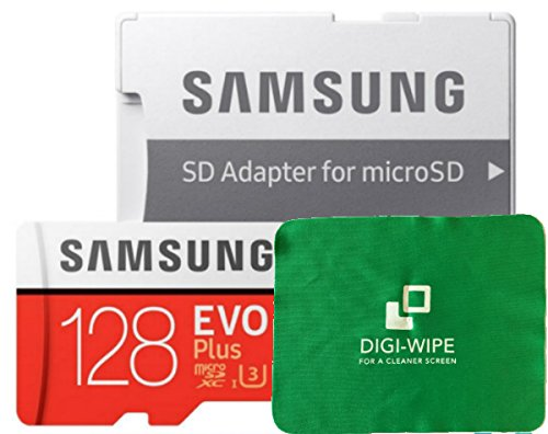 Digi Wipe Micro-SD Evo Plus geheugenkaart voor Samsung Galaxy A3, A5, A6, A6s,A7, A8, A8s, A9 mobiele telefoons, Alle 2016, 2017, 2018 versies - Inclusief microvezel reinigingsdoek