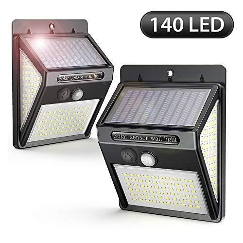 [2 Pack] Solarleuchten für Außen, 140LED Solarlampe Außen 2000mAh mit Bewegungsmelder 270° Beleuchtungswinkel Superhelle Aussen Solarlicht, 3 Modi, Wasserdichte Solarleuchten für Garten