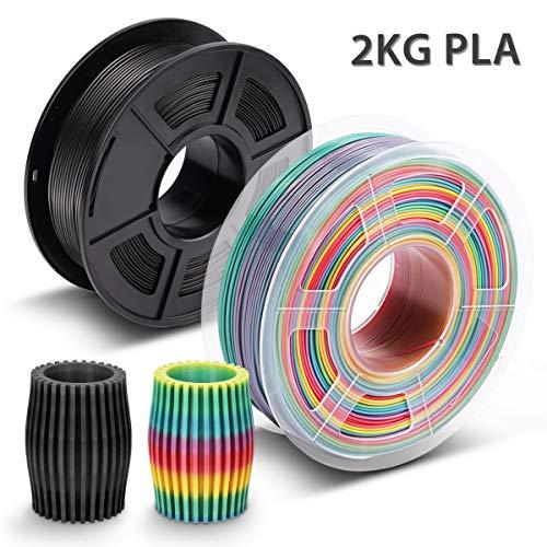 Filamento PLA Rainbow & Negro,3D Warhorse Filamento PLA 1.75 mm,3D Printer Filament 1.75mm,Dimensional Accuracy +/- 0.02 mm,2KG(Spool),Polylactic Acid Material,1.75mm MultiColor Filamento