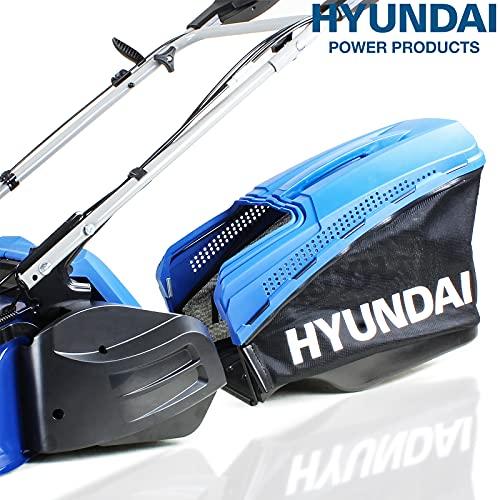 Hyundai 48cm OHV 4-Stroke 139cc Petrol Lawn Mower, Self Propelled, Roller Petrol lawn Mower, 3 Year Warranty, Quick Release 70L Grass Bag, Powerful Petrol Lawnmower, 5 Cutting Heights, Blue