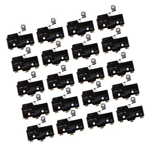 H HILABEE 20 Unids Palanca De Bisagra De Rodillo SPDT 1NO 1NC Actuador Micro Limit Switch LXW5-11G2