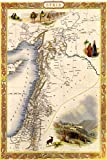 Vintage-Metall-Blech-Poster – Karte von Syrien, antike