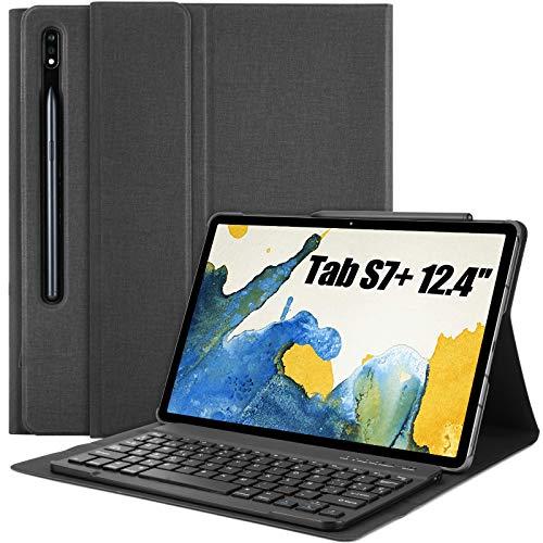 """Teclado Funda para Samsung Galaxy Tab S7 Plus 12.4"""", QWERTY Ultra Slim Teclado con Magnético Desmontable Inalámbrico Bluetooth con Ranura para Lápiz(Incluye Letra Ñ) para 2020 S7+ T970 T975 T976"""