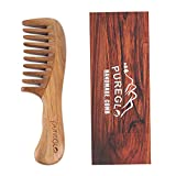 Wide Tooth Detangling Comb [Gift Box] - pureGLO No-static Natural Wooden Comb...