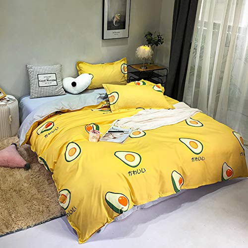 Treer Fruit Duvet Cover Set 3 Pieces, Single Double King Strawberry Bedding Set Microfiber Nordic style Soft Duvet Set with Zipper Closure Quilt Case and 2 Pillowcases (Yellow Avocado,180x220cm)