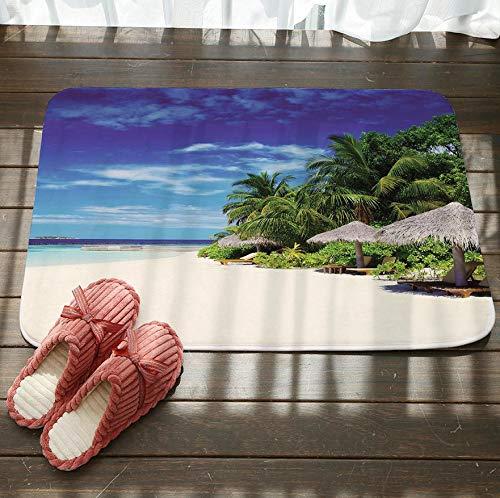 GjbCDWGLA wit strand rieten schuur antislip badkamer tapijt zachte textuur vloer mat wasbaar bad matten water absorberende tapijten deurmat 50 cm x 80 cm
