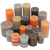 6 kg Rustic Stumpenkerzen durchgefärbt Rustik Qualität Kerzen Set Kerzenpaket Mix gemischt nach Farben (Orange-Braun-Grau 04)