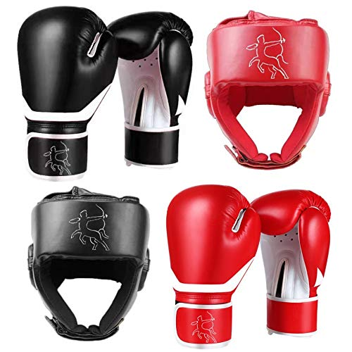 Centaur's, Durable Custom Design 2 Pair Set of Boxing Gloves and Set of Headgear, MMA Boxing Gloves MMA Headgear,Kickboxing Sparring Gloves and Abs Training Guantes De Boxeo