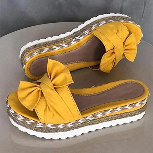 DZQQ Sandalias de Mujer, Zapatos de Verano con Nudo de Lazo, Sandalias...