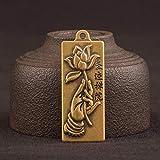 YXYSHX Sammlerfiguren Messing Lotus Buddha Hand Tag Schlüsselbund Anhänger Schmuck Vintage Mode Kupfer Auto Schlüsselanhänger Hanging-Tag_Pendant