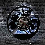 Reloj de Pared de Vinilo Creativo, Mini-Moto Reloj de Pared de la decoración de la casa del Reloj Disco de Vinilo,1 LUZ