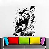 Football américain Stickers Muraux Rugby Jeu Ball Sport Vinyle Mur Décor Stickers Garçons Chambre Chambre Décoration Affiche 57x75 cm noir