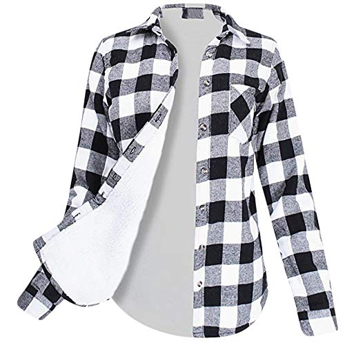 Damen Karo-Hemd Winter, PLOT Mode Frauen Karierte Blusen Langarmhemd Karierte Bluse Plaid Shirt mit Fleece Futter Winterjacke Wintermantel Fleecejacke