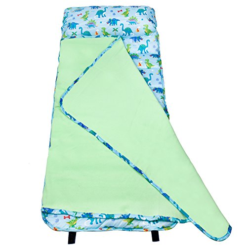 Wildkin Easy Clean Nap Mat with Pillow for Toddler Boys & Girls, Ideal Size for Daycare and Preschool, Perfect for Sleepovers and Travels Nap Mats for Kids, BPA-free (Dinosaur Land)