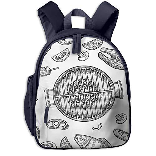 Kinderrucksack Kleinkind Jungen Mädchen Kindergartentasche Barbecue Grill Draufsicht Holzkohle Backpack Schultasche Rucksack