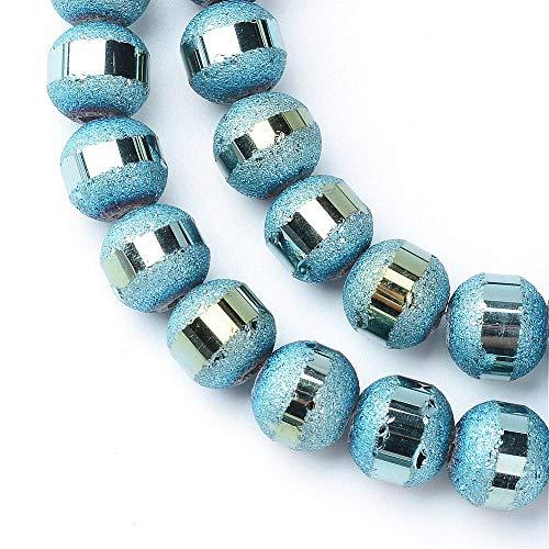 Glasperlen Galvanisierte 6mm Runde Matt perlen mit Silber plattiert 1 Strang 100stk Regenbogen Effekt Perle mit Loch zum auffädeln Farbauswahl (Blau)