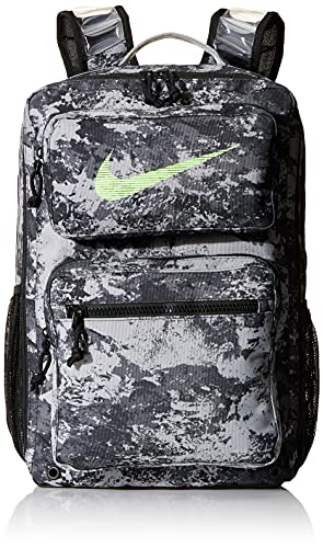 Nike Utility Speed-GFX All Over Print Rucksack, Particle Grey/Black/Lime Blast, One Size