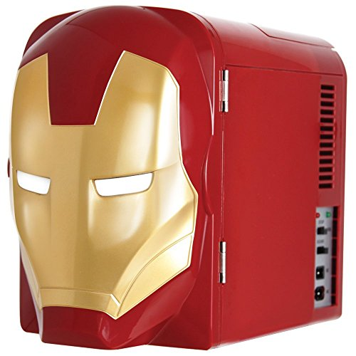 Marvel Ironman Thermo-Electric Mini Fridge Cooler, Red/Gold, 4 L