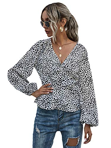 SheIn Women's Printed Long Sleeve Shirt Tie Side Ruffle Hem Wrap Blouse Tops Multicoloured Small