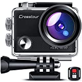 Crosstour CT9000 Action Cam Webcam Upgraded 4K 20MP WiFi con Telecomando e LDC Action Camera Subacquea 40M e Kit di Accessori