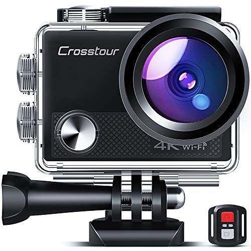 Crosstour CT9000 Action Cam Webcam Upgraded 4K 20MP WiFi con mando a distancia y LDC Action cámara sumergible 40M y kit de accesorios