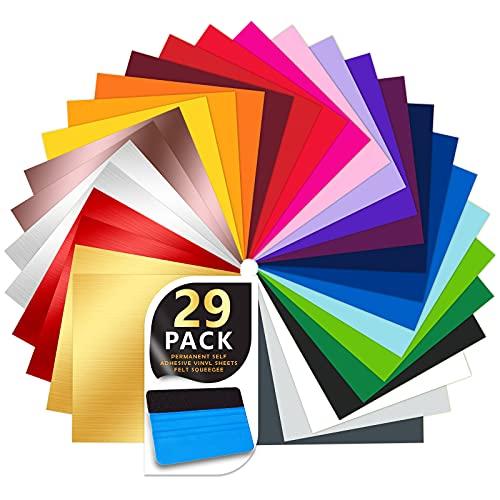 29 Pack Permanent Selbstklebende Vinylfolie 30,5 cm * 30,5 cm - 3 Gebürstetem Metall-Farb Vinylblätter + Roségold-Farb und Plotter Werkzeuge Rakeln, für Partydekoration, Kunsthandwerk, Autoaußenseite.