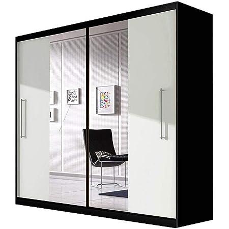 E-MEUBLES Armoire de Chambre avec 2 Portes coulissantes | Penderie (Tringle) avec étagères (LxHxP): 204x218x58 Nico avec Miroir (Noir+ Blanc+ Miroir)