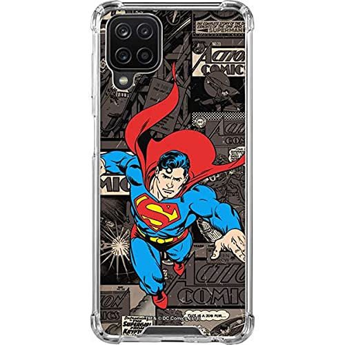 Skinit Clear Phone Case Compatible with Samsung Galaxy A12 - Officially Licensed Warner Bros Superman Mixed Media Design