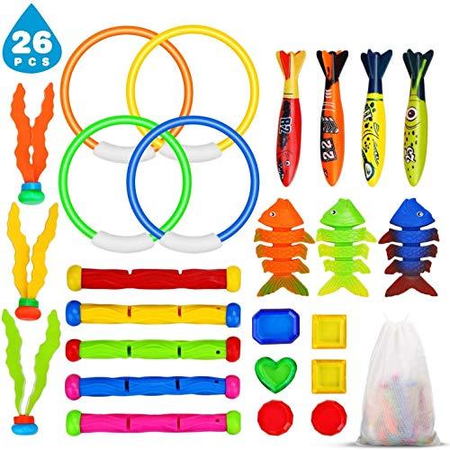 Ucradle Tauchspielzeug Pool Spielzeug, 26 Stück Tauchen Spielzeug Schwimmbad Spielzeug Torpedos Tauchringe Tauchbälle Edelstein Wasser Spielzeug zum Tauchen Lernen Kinder Jungs Mädchen Geschenkset