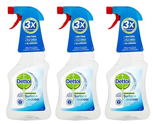 Dettol 047643 - Detergente spray antibatterico per superfici, 500 ml, confezione da 3