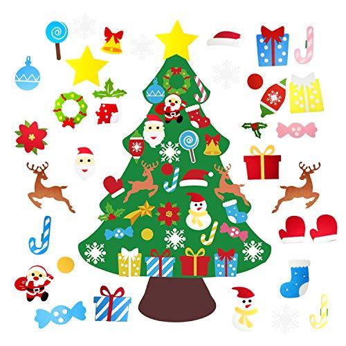 DIY Felt Christmas Tree for Kids 3.3ft Set 33 Pcs Detachable Ornaments Wall Hanging Xmas Gifts Children Friendly Christmas Home Decorations