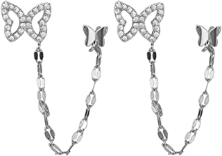 Double Butterfly Chain Cuff Wrap CZ 925 Sterling Silver Stud Crawler Climber Earrings for Women Girls Cartilage Threader T...