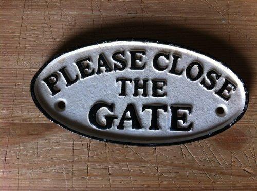 Eisenschild pLEASE cLOSE tHE gATE (veuillez indiquer le but de fermer deutsche torschild anglais) pour porte d'entrée de jardin