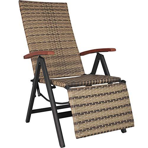 TecTake 800720 Aluminium Poly Rattan Relaxsessel mit Fußablage, klappbar & verstellbar, für Garten, Balkon & Terrasse, Gartenstuhl, witterungsbeständig - Diverse Farben - (Natur | Nr. 403861)